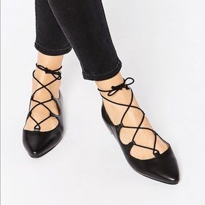 Halogen Ghillie Lace Up Pointed Ballet Flats